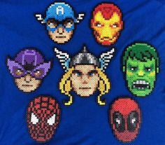 Marvel Superhero Perler Bead Sprites (set of 7) by PrettyPixelations