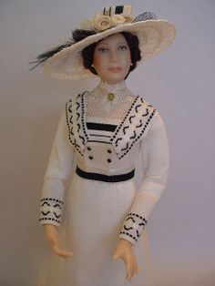Inspired by Cora, the Countess of Grantham, from Downton Abbey, this dollshouse doll is by Debbie Dixon-Paver
