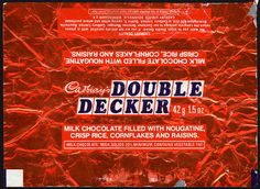 Cadbury's Double Decker - when it used to have nougatine, crisp rice, cornflakes and raisins!
