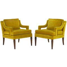 1960s Pair Saffron Velvet Upholstered Open Arm Regency Club Chairs.