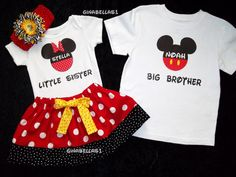 Minnie Mouse onesie Mickey Mouse tee shirt Birthday outfit little man big brother twins sister boy size 3 6 9 12 18 months 5 6 Boy Girl Twin Outfits, Boy Girl Twins, Girls, Disney Inspired Outfits, Disney Outfits, Cute Outfits, Minnie Mouse Onesie, Mickey Mouse 1st Birthday, 1st Birthday Outfits