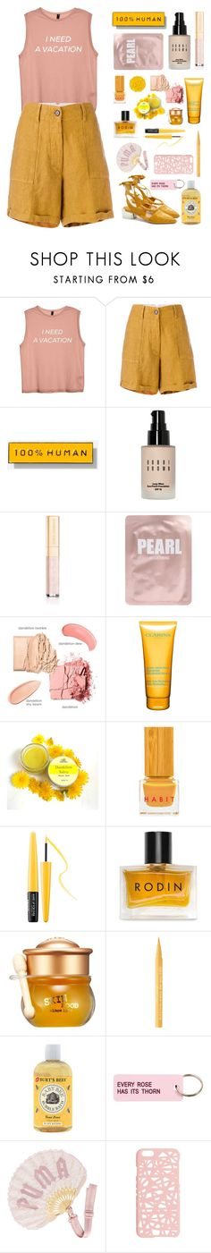 """Pink and yellow"" by fanfanfann ❤ liked on Polyvore featuring Forte Forte, Everlane, Bobbi Brown Cosmetics, Dolce&Gabbana, Lapcos, Clarins, Illamasqua, Habit Cosmetics, MAKE UP FOR EVER and Rodin"