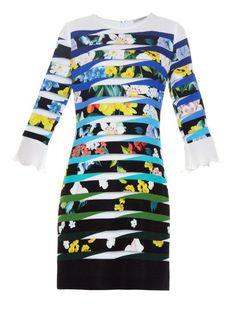 Mary Katrantzou Amellus Techno Flowers Stripe-print dress