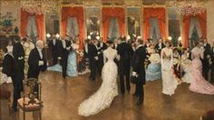 """Artist, Jean Beraud painting of """"A Ball"""", A display of Gilded Age Parisian designed gowns, by Charles Frederick Worth. Gilded Age NYC society women would travel to Paris and order their fancy gowns from The House of Worth Salon. Edouard Manet, Jean Beraud, French Impressionist Painters, Impressionist Paintings, Elodie Frégé, Jean Leon, Jean Georges, Fancy Dress Ball, Fancy Gowns"""