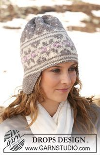 "DROPS hat in ""Alaska"" with earflaps and Norwegian pattern. ~ DROPS Design"