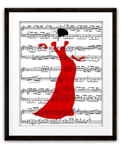 Dancer Lady in Red Music Book Page Art Print, Mixed Media Collage, Home & Living, Gift Ideas,  Dancer Art, Girls Room, Dorm Room