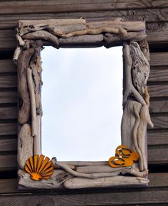 Small driftwood mirror 7 x 5 by MacKazOnTheWall on Etsy