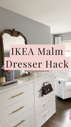 Quick and easy way to gain more storage space with the Ikea Malm dresser hack. Bedroom Storage Ideas For Clothes, Bedroom Storage For Small Rooms, Hacks Ikea, Ikea Furniture Hacks, Furniture Storage, Dresser Storage, Storage Chest, Ikea Hack Bedroom, Diy Bedroom