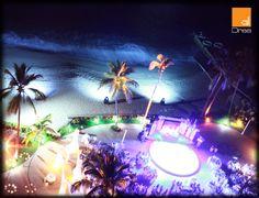 Vista de boda en Vallarta. La iluminación arquitectónica y ambiental como protagonista de la fiesta.