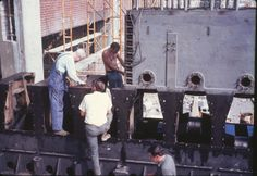 Getting ready to set the 3 cylinder section of the Rathbun-Jones 7 cylinder diesel generator (Roger Johnson)