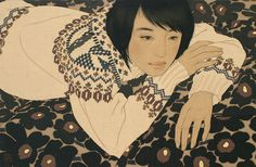 Catalogue Raisonné | IKENAGA YASUNARI 池永 康晟 No057/2010 [最初の気持ち・志麻] 麻布・岩絵具・水干・膠・墨 Linen Canvas/Gelatin glue/Mineral pigments/Soot ink 36㎝×55cm