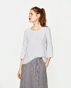 Image 2 of STRIPED TOP WITH RUFFLED SLEEVES from Zara #blousesrayas