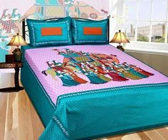King Size Bedsheet With Two Pillow Covers Colorful With Beautiful Print Indian