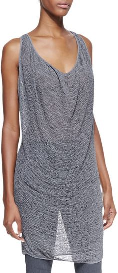 Donna Karan New York Sleeveless Draped Cowl Tunic in (GREYSTONE) | Lyst