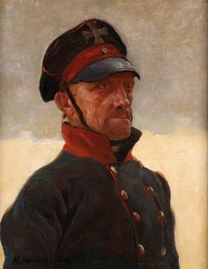 HANS KOHLSCHEIN (German 1879-1948) Portrait of a Soldier Oil on canvas laid down on wood panel Signed lower left.