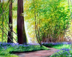 Bluebells original acrylic painting. Original painting of woodland and bluebells in sunlight. Scotland inspired landscape painting.