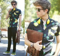 I guess this summer, it is weird #pattern on shirt. Pineapple Shirt, Viparo Backpack, Ombre Converse, Skinnys