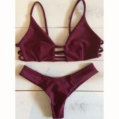 Sexy hollow out solid color bikini