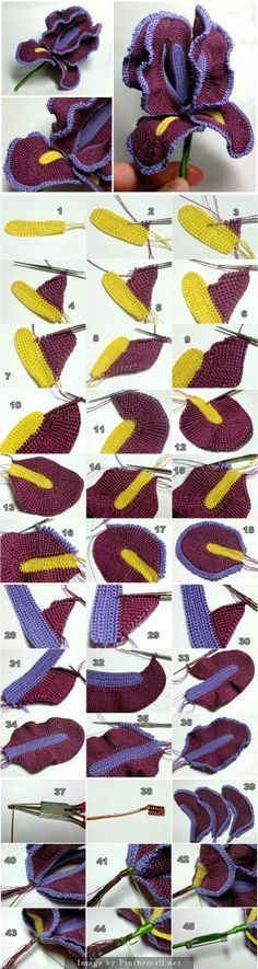 """#Crochet_Tutorial - """"Fabulous tutorial for making this sensational iris brooch! Click on the picture to get to the site for many more pictures than I've shown here."""" comment via #KnittingGuru"""