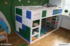 IKEA kura bed with lego makeover Ikea Bunk Bed, Kura Bed, Bunk Beds, Lego Bedroom, Kids Bedroom, Kids Interior, Kid Spaces, Kid Beds, My New Room