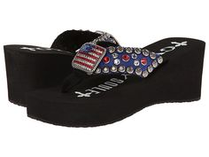 0f735e72b132f7 Gypsy soule patriot heel black. Patriotic flip-flops with bling!