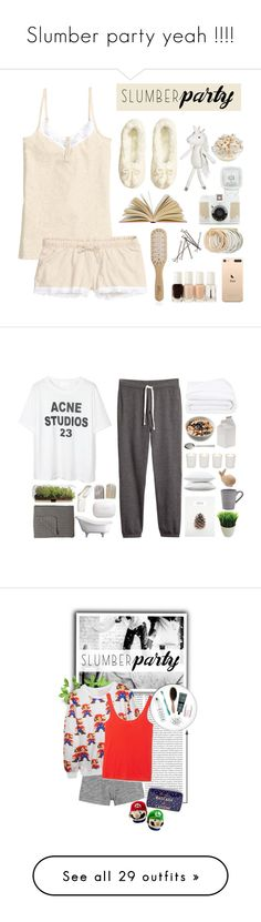 """""""Slumber party yeah !!!!"""" by creece-massoudi ❤ liked on Polyvore featuring H&M, Philip Kingsley, Essie, Odeme, Pillowfort, slumberparty, Fieldcrest, Kikkerland, Zara Home and Banana Republic"""