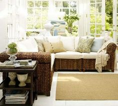I am absolutely in love with this! pottery barn seagrass sectional