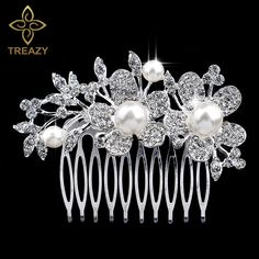 >> Click to Buy << TREAZY Pretty Leaf Flower Wedding Tiara Bridal Hair Combs Diamante Silver Plated Crystal Pearl Hairpins Hair Jewelry Accessories #Affiliate