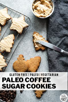 Coffee Sugar Cookies - These buttery, crispy little cookies are flecked with ground coffee and topped with a simple paleo coconut butter and coffee frosting! The perfect paleo Christmas Cookie for holiday baking and cookie swaps! Paleo Dessert, Paleo Sweets, Healthy Dessert Recipes, Real Food Recipes, Paleo Menu, Healthy Treats, Eating Healthy, Healthy Food, Clean Eating