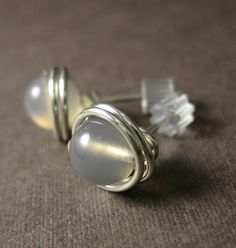 Smokey Quartz Stud Earrings 6mm Wire Wrapped Sterling Silver -- Simply Studs. $11.00, via Etsy.