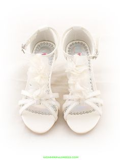 Ivory Chiffon Flower Decorated Girl Sandals
