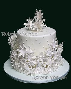 'Frozen' theme cake Snowflake collar cake - display cake for work 2014 - by Robynn Yoerger