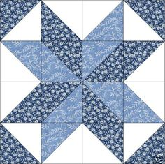 Maywood Blue Floral Star Quilt Top Block Precut Kit
