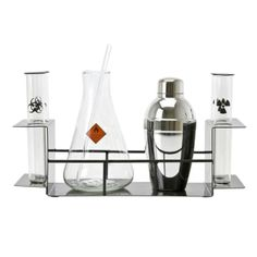 Christmas Gifts for Geeks. Chemistry-Themed Cocktail Set. Amaze your friends with your drinkable chemistry experiment skills. This chemistry-themed cocktail set includes two beakers, an Erlenmeyer flask and a shaker, all marked with appropriately science-y symbols. Round out the gift with a set of shot glasses in the shape of tiny beakers and other laboratory-ready flasks.