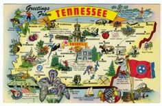 vintage state postcards | State of Tennessee Map Vintage 1970 Postcard - Stone Hill Creek