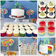 Very Hungry Caterpillar Birthday Party - Rainbow Birthday Cake by ...