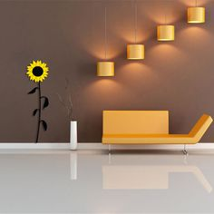 Sunflower Wall Stickers a modern flower wall art sticker from our unique collection of wall motifs. wall art graphics are self adhesive, removable wall decals. With these ultra thin matt decals you can easily transform the look of your . Wall Tattoos, Personalised Wall Stickers, Islamic Decor, Nursery Decals, Removable Wall Decals, Cool Walls, Lighting Design, Interior Decorating, Wall Lights