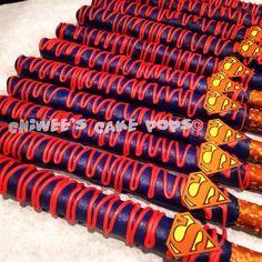 Superman theme chocolate covered pretzels