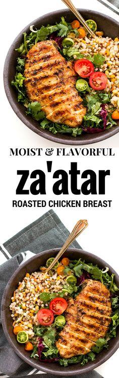 zaatar roasted chicken breast. Easy mediterranean inspired chicken recipe…