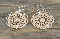 Items similar to Delicate Lacy Earrings - Tea Stained on Etsy Cotton Crochet, Thread Crochet, Crochet Doilies, Crochet Top, Crochet Turtle, Crochet Earrings, Beaded Necklace, Crochet Stars, Textile Jewelry