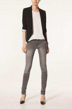 veste / jean gris/ escarpin