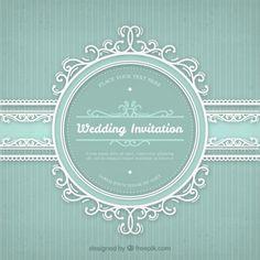 Convite do casamento com frame do vintage Vetor grátis