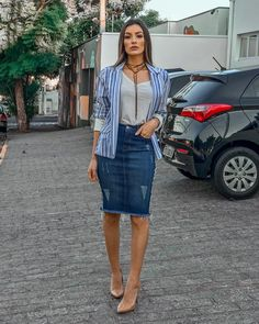 How To Wear Denim Skirt Outfits Jean Shirts 46 Ideas For 2019 Modest Wear, Modest Outfits, Modest Fashion, Casual Outfits, Summer Outfits, Cute Outfits, Fashion Outfits, Fashion News, Women's Fashion