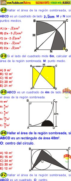 44 Ideas De Areas Sombreadas Calcular El Area Teorema De Pitagoras Actividades De Matematicas