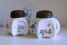 Antique Milk Glass Salt and Pepper Shakers by SongSparrowTreasures, $5.00