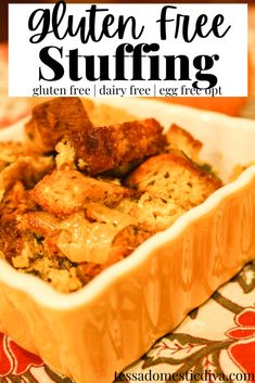 Gluten Free Stuffing Recipe - #glutenfreestuffing #homemadestuffing #glutenfreethanksgiving Gluten Free Thanksgiving, Thanksgiving Stuffing, Thanksgiving Table, Homemade Stuffing, Stuffing Recipes, Stuffing Ingredients, Gluten Free Stuffing, 3 Quart Baking Dish, Sweet Tarts