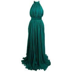 Preowned Alexander Mcqueen 2010 Flowing Emerald Green Chiffon Halter... ($2,950) ❤ liked on Polyvore featuring dresses, gowns, evening gowns, green, blue evening dresses, emerald green ball gown, green evening dresses, green ball gown and halter top