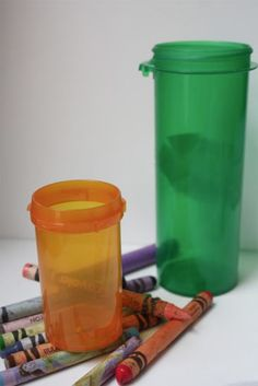 empty medicine bottle crafts | Starting with reds, melt the crayons in the tin can set in the ...