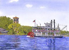 river boat ~ Chautauqua Belle and Bell Tower by Thelma Winter Nostalgic Art, Lighthouse Art, Winter Art, Art Drawings, Nautical, Coastal, Tower, Gallery, Artwork