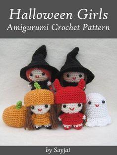 Halloween Girls Amigurumi Crochet Pattern (Easy Crochet Doll Patterns Book 6) - Witch, Devil, Ghost, Pumpkin Head